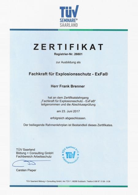 Fachkraft für Explosionsschutz - ExFa