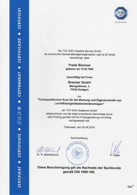 Fachspezifischer Kurs für die Wartung und Eigenkontrolle von Leichtflüssigkeitsabschneideranlagen