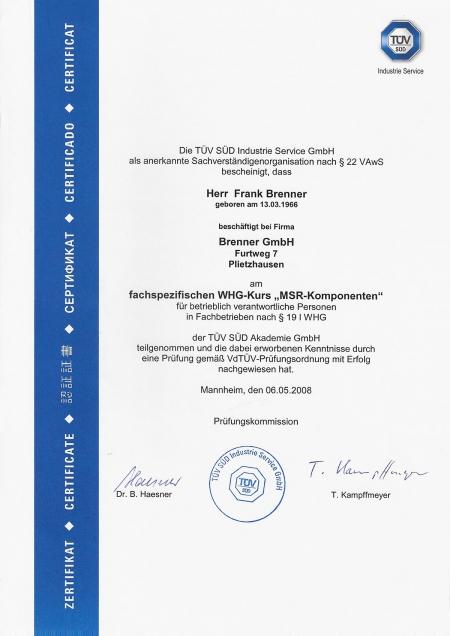 Fachspezifischer WHG-Kurs für MSR-Komponenten