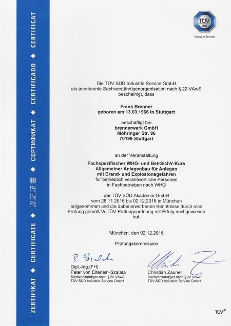 Fachspezifischer WHG- und BetrSichV-Kurs - Allgemeiner Anlagenbau für Anlagen mit Brand- und Explosionsgefahren