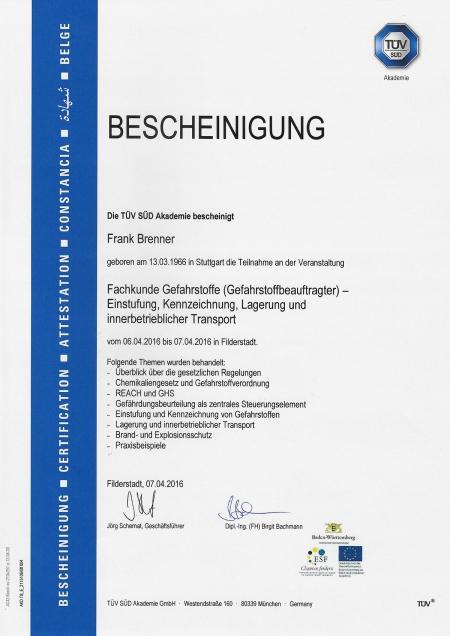 Gefahrstoffbeauftragter für die Einstufung, Kennzeichnung und Lagerung sowie den innerbetrieblichen Transport