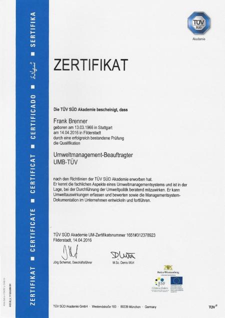 Umweltmanagement-Beauftragter UMB-TÜV
