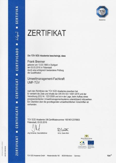 Umweltmanagement-Fachkraft UMF-TÜV