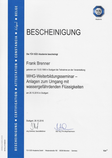 WHG-Weiterbildungsseminar - Anlagen zum Umgang mit wassergefährdenden Flüssigkeiten